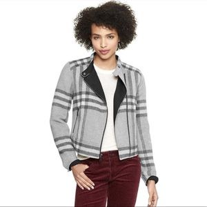 GAP Plaid Wool Moto Jacket LIKE NEW S